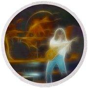 Van Halen-91-ge7a-fractal Round Beach Towel
