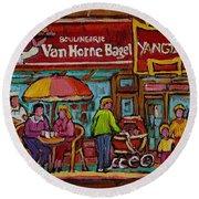 Van Horne Bagel With Yangtze Restaurant Montreal Street Scene Round Beach Towel by Carole Spandau
