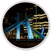 Vancouver - 2010 Olympic Cauldron Lit At Night Round Beach Towel
