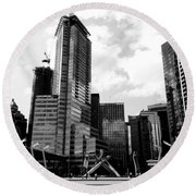 Vancouver Olympic Cauldron- Black And White Photography Round Beach Towel