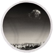 Vancouver Skyline Acloud Over English Bay Round Beach Towel