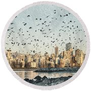 Vancouver Skyline With Crows Round Beach Towel