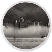 Vancouver Skyline With Fog Over English Bay Round Beach Towel