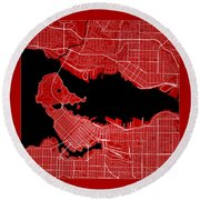 Vancouver Street Map - Vancouver Canada Road Map Art On Color Round Beach Towel