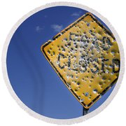 Vandalized Road Sign Many Bullet Holes Round Beach Towel