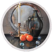 Vanitas Still Life By Candlelight With Clementines 1 Round Beach Towel