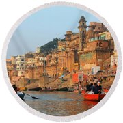 Varanasi From The Ganges River Round Beach Towel