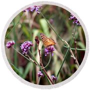 Variegated Fritillary Butterfly Round Beach Towel