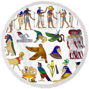 Various Themes Of Ancient Egypt Round Beach Towel