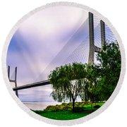 Vasco Da Gama Bridge I Round Beach Towel