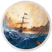 Vasco Da Gama's Ships Rounding The Cape Round Beach Towel by English School