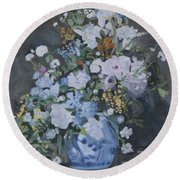 Vase Of Flowers - Reproduction Round Beach Towel
