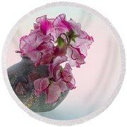 Vase Of Pretty Pink Sweet Peas 2 Round Beach Towel