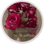 Vase Of Roses Round Beach Towel