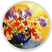 Vase With Multicolored Flowers Round Beach Towel