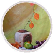 Vase With Orange Leaves And Fruit Round Beach Towel