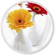 Vases With Gerbera Flowers Round Beach Towel