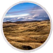 Vast View Of The Rolling Hills Round Beach Towel by Robert Bales