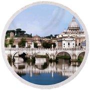 Vatican City Seen From Tiber River Round Beach Towel