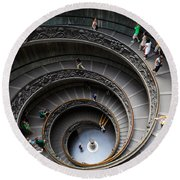 Vatican Spiral Staircase Round Beach Towel by Inge Johnsson