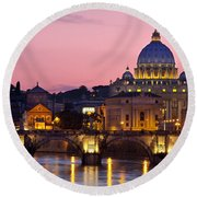 Vatican Twilight Round Beach Towel by Brian Jannsen