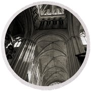 Vaults Of Rouen Cathedral Round Beach Towel