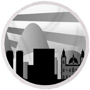 vector Rio skyline with ball Round Beach Towel