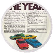 Vega - Car Of The Year 1971 Round Beach Towel