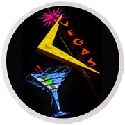 Vegas Martini Round Beach Towel