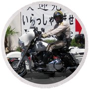 Vegas Motorcycle Cop Round Beach Towel