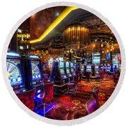 Vegas Slot Machines Round Beach Towel