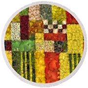 Vegetable Abstract Round Beach Towel