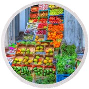 Vegetable And Fruit Stand Round Beach Towel