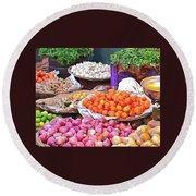 Vegetable Vendor - Omkareshwar India Round Beach Towel