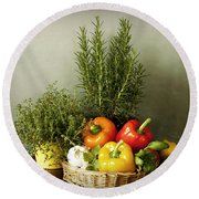 Vegetables And Aromatic Herbs In The Kitchen Round Beach Towel