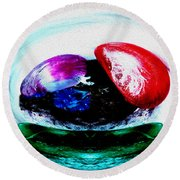 Vegetables And Gemstones Round Beach Towel