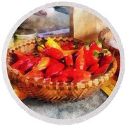 Vegetables - Hot Peppers In Farmers Market Round Beach Towel