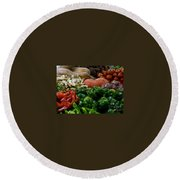 Vegetables In Chinese Market Round Beach Towel