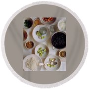 Vegetarian Dishes Round Beach Towel