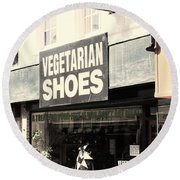 Vegetarian Shoes Round Beach Towel
