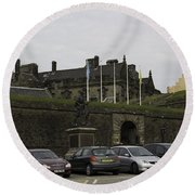 Vehicles At The Parking Lot Of Stirling Castle Round Beach Towel