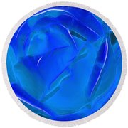 Veil Of Blue Round Beach Towel