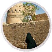 Veiled Woman In Yazd Street In Iran Round Beach Towel