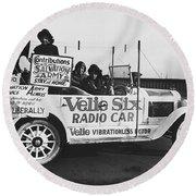 Velie Six Radio Car Round Beach Towel