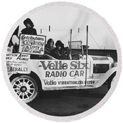 Velie Six Radio Car Round Beach Towel