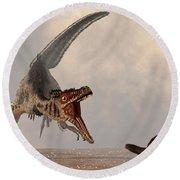 Velociraptor Chasing Small Mammal Round Beach Towel