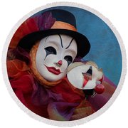 Venetian Carnival - Portrait Of Clown With Mask Round Beach Towel