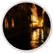 Venetian Golden Glow Round Beach Towel