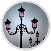 Venetian Lamps Round Beach Towel by Dave Bowman