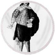 Venetian Man, 18th Century Round Beach Towel